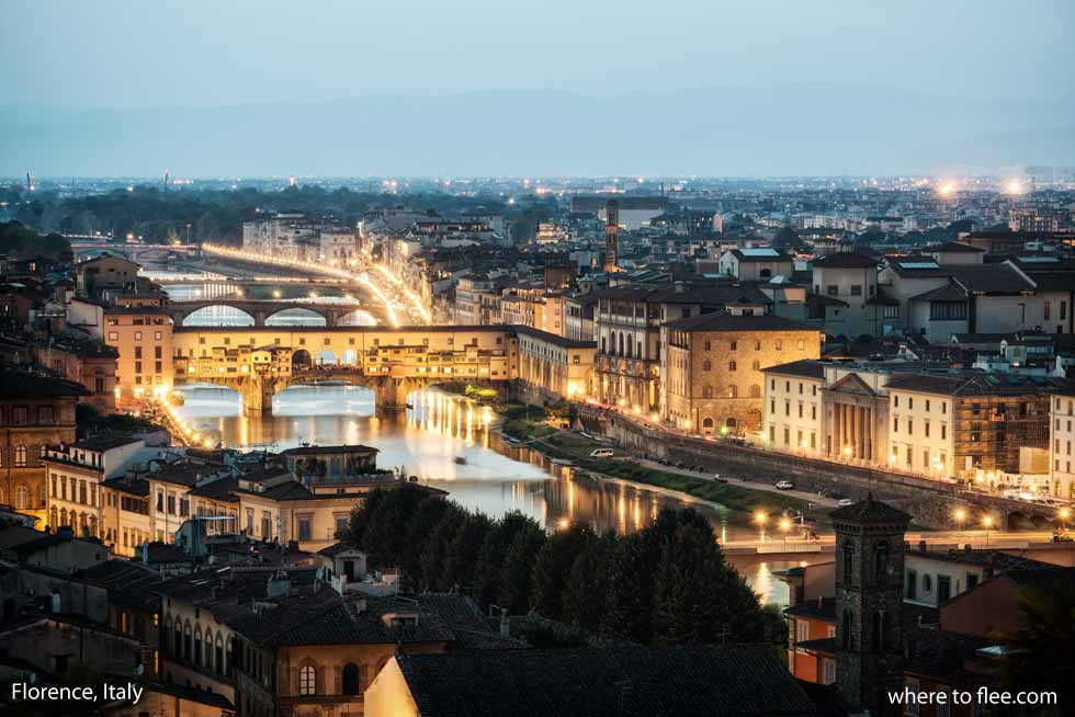 Florence Italy - the Ponte Vecchio  Bridge